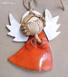 Idea: This is a ceramic angel from Poland.(I saw a purple one) Given the distance, something Mais Angel Crafts, Christmas Crafts, Christmas Ornaments, Clay Ornaments, Angel Ornaments, Ceramics Projects, Clay Projects, Pottery Angels, Ceramic Angels