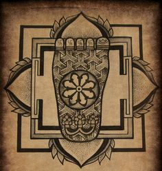 Buddha's foot #mandala #dotwork #illustration #buddha #swastica #tattoo