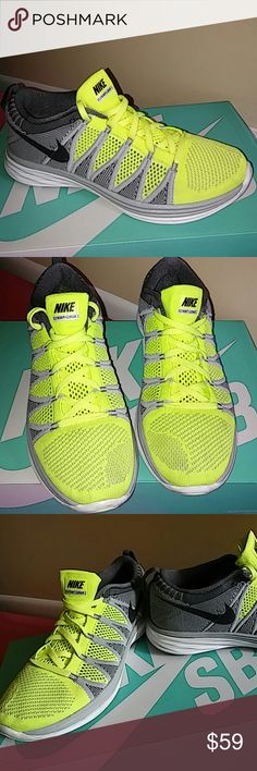 Nike Flyknit Lunar 2 SIZE 8.5 MEN and 10 WOMEN Shoes is gently used and rated 8/10. No stain, no greasing and no spots of dirt or whatsoever.  Color is bright lime green, grey, black and white in a pretty combo. User was size 9 men and fit perfectly. Women of size 10 and 10.5 can fit into this as well. Guaranteed to be 200% authentic nike product. Nike Shoes Sneakers