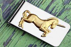 Unicorn Silver Money Clip Steampunk Gold Money Clip by tasherajean