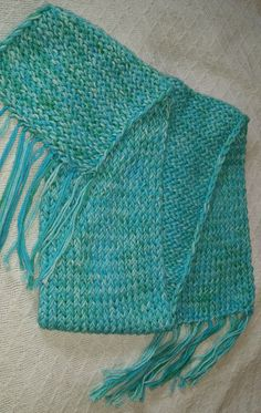 Fabulous hand-dyed cotton yarn! Heavy Fringed Scarf in Turquoise and Green Shades Hand Dyed