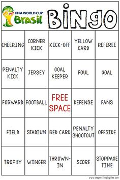 World Cup Bingo - FREE PRINTABLE!