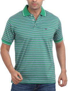 If green is your color then you are sure to like this t-shirt from Park Avenue. Crafted with elegance this dark green polo neck t-shirt is a class above the rest. Contrasting dark green collar with white stripe gives it an elegant look. Park Avenue logo in black on front pocket looks cool. Wear this 100% cotton t-shirt with light blue denims and dark colored sneakers and spend your leisure time at its best with loved ones. Polo Neck, Park Avenue, Looks Cool, Neck T Shirt, Light Blue, Rest, Pocket, Logo, Dark