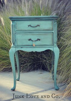 RESERVED Vintage Blue Side Table Night Stand French Provincial Annie Sloan Provence