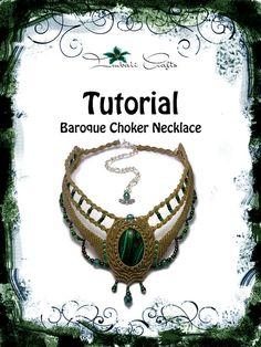 Retractor barroco TUTORIAL - collar barroco verde oliva - Malaquita - collar de piedras preciosas naturales