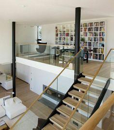 escalier en bois, salon vaste, sol en parquette, ateliers et lofts modernes, loft atelier