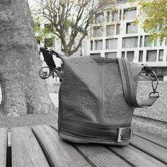 Leather bucket bag with pattern, grey My Bags, Bucket Bag, Messenger Bag, Gray Color, Satchel, Backpacks, Handbags, Grey, Pattern