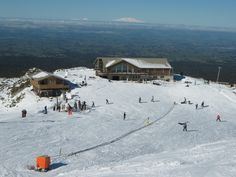 Manganui Ski Area on Mt Taranaki - Mts Ruapehu, Ngauruhoe, and Tongariro can be seen in the distance - August 2011