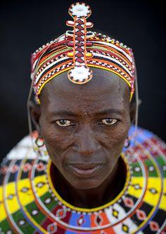 El Molo woman with beaded headdress - Lake Turkana - Kenya