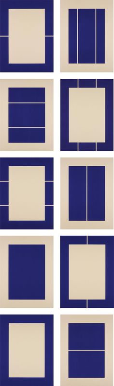 moodboardmix: Donald Judd. Untitled, 1988. Complete set of 10 woodcuts in ultramarine blue, on Okawara paper.