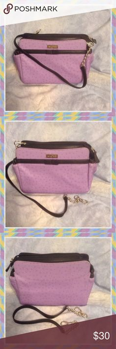 "Petite Miche Bag,W Base💜Extra 10"" Strap‼️ Petite bag have 2 end stretchable pockets, for I Touch, keys, cash.🍇inside 1 stretchable pocket for ID, bag can hold sm wallet phone.🍇 20"" detachable strap use as Crossbody, when remove use as a Full size Clutch🍇, used few times, condition good, As Is‼️‼️FREE‼️🎉10"" Strap w Silver chain🎁 Miche Bags Mini Bags"