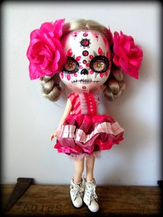 Custom Handpainted 'Death by Pink' Calavera Blythe Doll. $350.00, via Etsy.