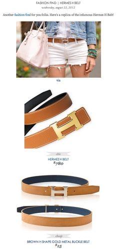 COPY CAT CHIC FASHION FIND: Hermes H Belt VS Brown H Shape Gold Metal Buckle Belt