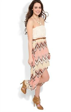 Deb Shops Strapless Dress with Crochet Bodice and Tribal Chevron $24.67