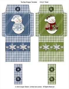 Adorable little snowmen all dressed up in their holiday best. Cut out, fold on the appropriate lines, paste (Ive found E-Z Runner Scrapbook