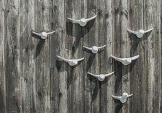 "Wall decoration ""Large flock of birds""- 8 White ceramic birds – home decor - Animals Design Shop, Wall Design, Cement Walls, White Elegance, White Wall Decor, Flock Of Birds, Ceramic Birds, Ceramic Decor, Wall Cladding"
