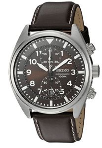 Seiko Men's Stainless Steel Watch with Brown Leather. Best Cheap Watches are cool watches too. You can buy best watches under 100 dollars. Very affordable watches. Vintage Watches For Men, Luxury Watches For Men, Casual Watches, Cool Watches, Black Watches, Leather Watches, Stylish Watches, Best Watch Brands, Seiko Men