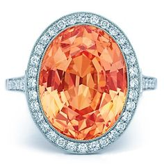 Tiffany orange saphire and diamonds