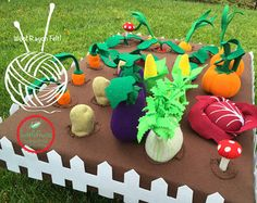 Felt Fabric Vegetable Garden Play Set Toy MiniGarden Pretend