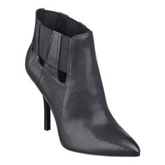 "Comfortable, elastic stretch goring on the outsides of our Julieanne pointed toe booties makes them a breeze to pull on and take off. The attitude? Serious - whether you're at work or out on the town. Padded footbed for all-day comfort. Leather upper. Man-made lining and sole. Imported. 4"" high heels."