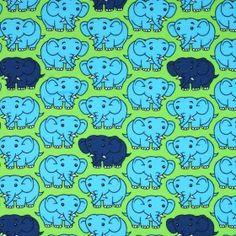 Kinderstoff Jersey - Elefant Lime