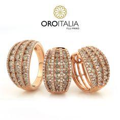 Juego de brillantes en oro rosado.  Para precios llámanos al 303-6627 (Dorado) ref. 211850 (AN) 211851 (AR)   #oroitalia #joyería #oro #gold #joyeríaspanamá #jewelry #panama #diamantes #aretes #anillo #earrings #ring #diamonds