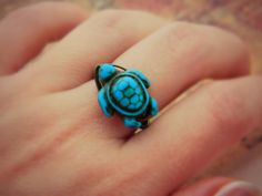Turtle Ring. Turquoise Ring. To Order  Blue Aqua by sobresitos