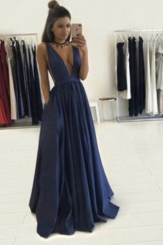 Sexy deep v-neck chiffon long prom dress,simple evening dress