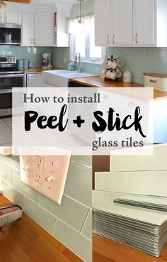 How to install Peel and Stick Glass Tiles yourself. DIY kitchen renovation. Tutorial on how to cut peel and stick glass tile. Kitchen glass tile backsplash. Farmhouse kitchen.