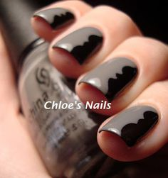 Chloe's Nails - use tape and scrap booking scissors to create the black shape