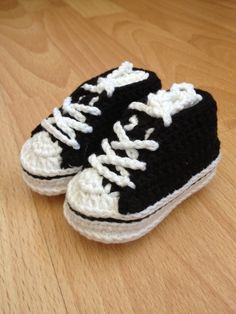 Crochet Converse style baby shoe - latest version made with cotton