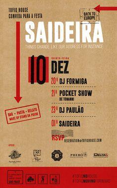"""Tofiq House - convite """"Saideira"""""""
