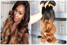 7A Peruvian 2 Tone Ombre Hair Extensions Unprocessed 1B30 Human Hair Weave 400G #Orangestar #Ombr