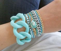 Camps & Camps Armband Chain Turquoise 79 euro en Schakel armband Turquoise 40 euro op www.luxedy.com