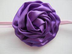 Dark Purple 3 Satin Rose Cabbage Flower on by MelissaRevierDesigns