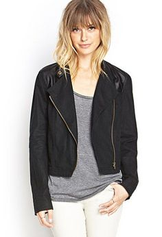 Faux Leather & Linen Moto Jacket | FOREVER21 - 2000124831