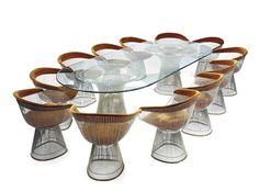 Warren Platner for Knoll, Dining Set, Dining Chairs, Dining Table, Dining Rooms, Warren Platner, Dining Suites, Retro Furniture, Beveled Glass, Glass Table