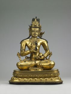 15th-16th century, Bhutan, buddha Vajrasattva, gilt copper alloy and pigment, cold gold and stone inlay, private collection, photo by Shuzo Uemoto
