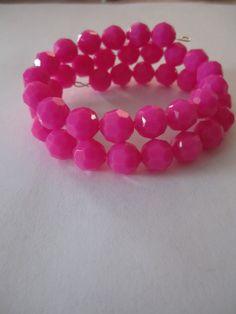 Pink, Hot Pink Wrap Beaded Bracelet