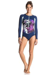 Roxy Junior's Caribbean Sunset Fashion Springsuit, Sea Salt Jungle Times, 8. Zip-up front. Bikini cut leg.