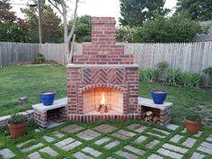 Outdoor:DIY Outdoor Fireplace DIY Outdoor Fireplace Blue Vase