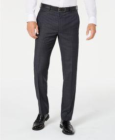 Lauren Ralph Lauren Men's Classic-Fit UltraFlex Stretch Charcoal/Blue Stripe Suit Pants & Reviews - Pants - Men - Macy's Ralph Lauren, Suit Pants, Tuxedo For Men, Fitted Suit, Suit Separates, Blue Stripes, Workout Pants, Charcoal, Wine Gift Boxes