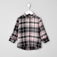 923f49ea Baby Girls Tops | Baby Clothes | River Island. Mini girls pink check  boyfriend fit shirt
