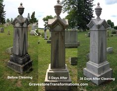 Baron L Leffing, Mary Boyd Leffingwell - Browns Chapel Cemetery , Ross County Ohio - before cleaning and after cleaning.   This memorial is really starting to look great. This memorial will take a little longer to finish transforming. The monument has stood over 130 years with biological growth taking it over and wearing it away.   The last of the biological growth will take a little longer to remove, but this monument is ready to withstand the outdoor elements for another 130+ years.