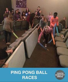 Create a track and have kids race pushing ping pong balls through the track using pool noodles. Youth Ministry Ideas and Games.