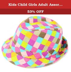 Kids Child Girls Adult Assorted Traditional Top Fedora Hat, Pink Blue Brown Checkered. Never step out of the house un-stylish with these traditional style fedora hats! Each hat features a polyester ribbon and a wide brim. Inside circumference of hat measures 24 inches. Entire height of hat measures 5.5 inches. Be sure to measure exact head shape for better fit. Hat is made a cotton and polyester mix. Made of 35% coton and 65% polyester. Durable fabric lasts through the various uses of…