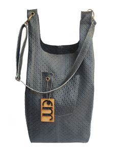 Leather Tote Bag/ messenger bag, Dark Gray color, ostrich emboss,  JUD Hand made Product. on Etsy, $181.08 CAD