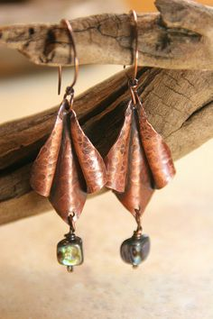 Fold Formed Hammered Copper Earrings with by AllowingArtDesigns, $22