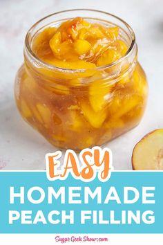 Fruit Filling Recipe, Cake Filling Recipes, Peach Pie Filling, Fruit Recipes, Pie Recipes, Yummy Recipes, Yummy Food, Peaches And Cream Recipe, Canning Peaches