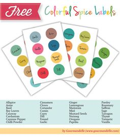 Colorful Spice Labels FREE!